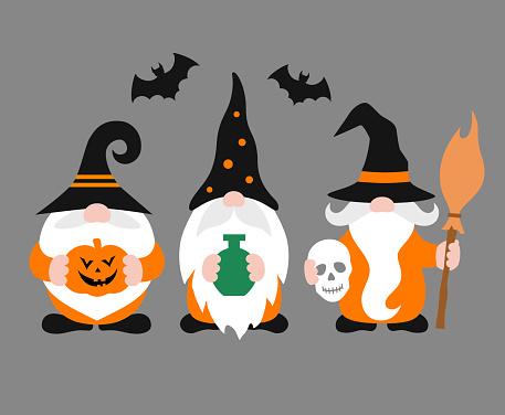 Three cute gnomes for Halloween. Vector illustration.