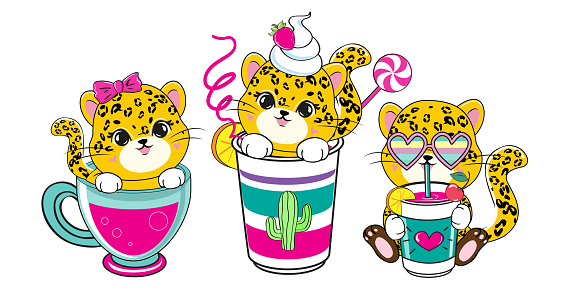 Three cute leopards and summer cocktails. Vector illustration of cartoon animals in kawaii style. T-shirt design