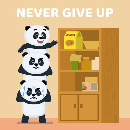 Three cute little pandas trying to take cookies from the cupboard's top shelf