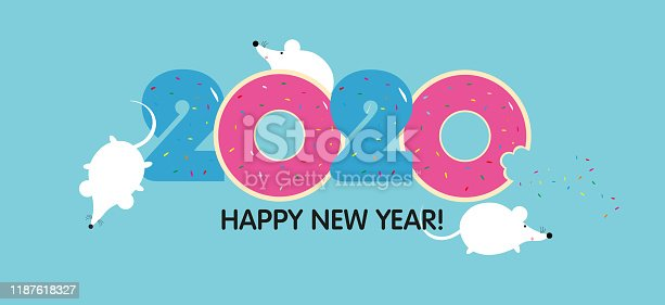 istock Three cute rats and number 2020 from the donuts with glaze. Funny white cartoon rats or mouses on blue background. Symbol of the year. Sweet New year and Christmas. Year Of The Rat 2020. Holiday greeting card. EPS 10. 1187618327