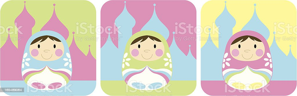 Three Cute Russian Dolls in Kremlin Background royalty-free three cute russian dolls in kremlin background stock vector art & more images of blue
