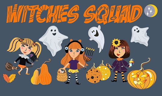 Three cute witches with Halloween symbols - pumpkin grin, menorah, raven, ghosts, candy basket, broom, witchcraft, raven.