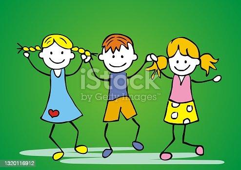 istock Three dancing children, eps. 1320116912