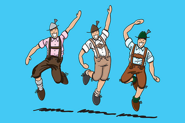 Three Dancing Oktoberfest Lederhosen Men Sketchy vector illustration of 3 bavarian men in Lederhosen. They are doing the traditional 'Schuhplattler' folk dance at the Oktoberfest. The line art, color and background are on separate layers, so you also can use the illustration on your own background. The colors in the .eps-file are ready for print (CMYK). Included files: EPS (v8) and Hi-Res JPG. oktoberfest stock illustrations