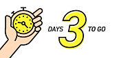 Three Days Left Countdown Vector Illustration Template