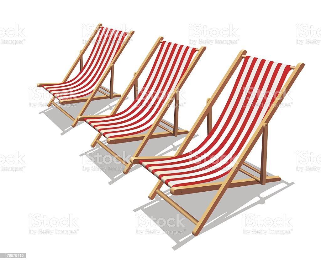 Three Deckchair with red stripes and shadows vector art illustration
