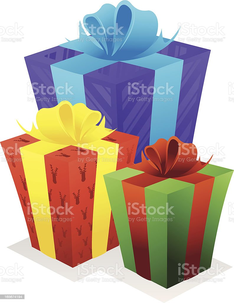 Three different colored Christmas gifts vector art illustration