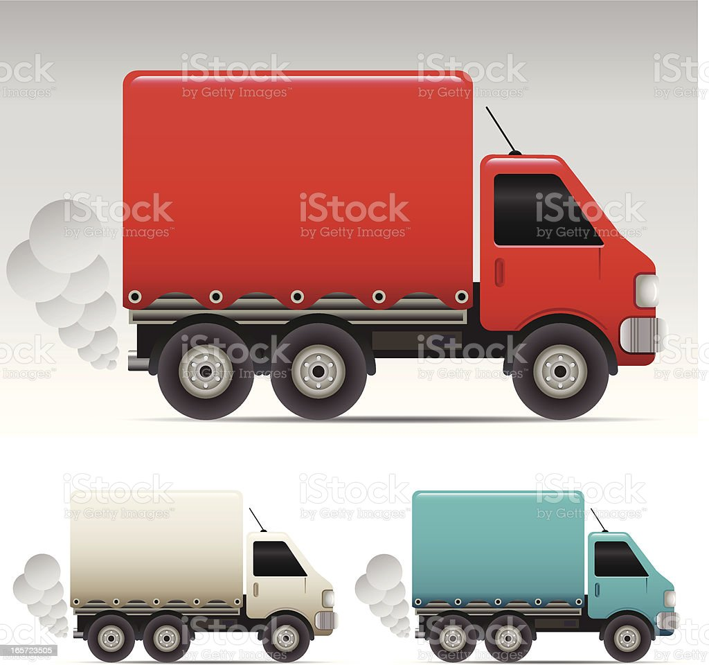 Three different colored delivery trucks on white background royalty-free stock vector art