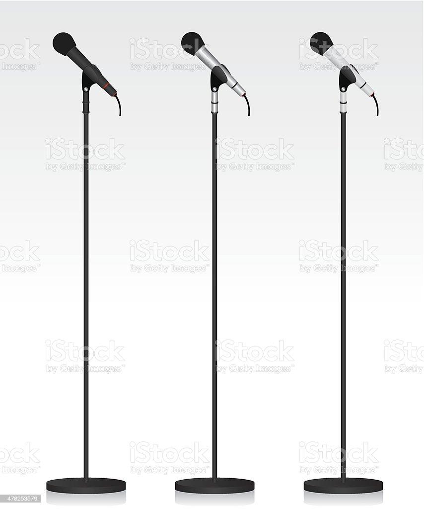 Three different microphone vector art illustration