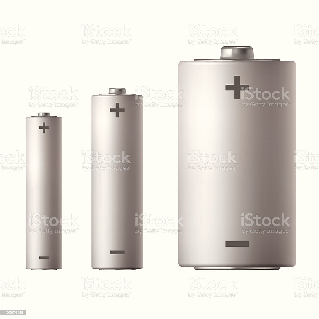 Three different sized batteries vector art illustration