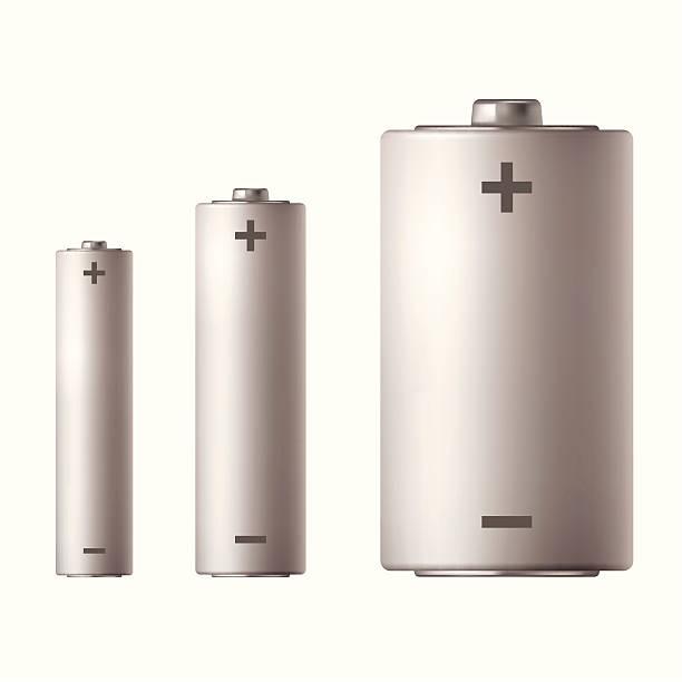 Three different sized batteries vector art illustration