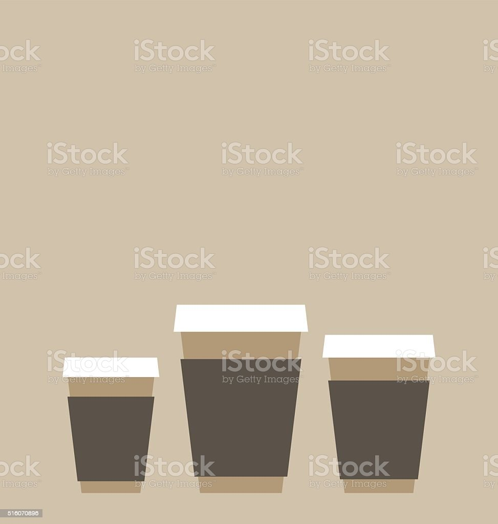 Three different sizes of the coffee to go vector art illustration