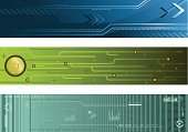 A set of three abstract technology banners. Includes a blue, a green, and a teal banner.