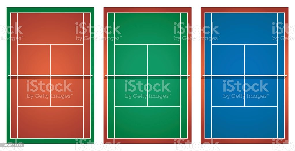 Three different tennis courts vector art illustration