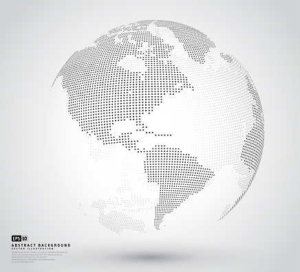 Three dimensional abstract dotted globe