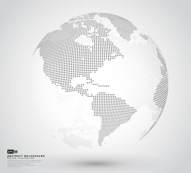 trójwymiarowa abstrakcyjna kropkowana kula ziemska - globalny stock illustrations