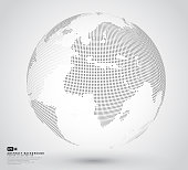 Three dimensional abstract dotted globe. Black dotted 3d earth world map globe in white backgrounds. Vector illustration eps-10.