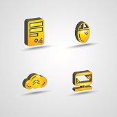 three dimensional computer technology icon set