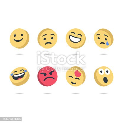 Vector illustration of a set of three dimensional cute and colorful emoticons
