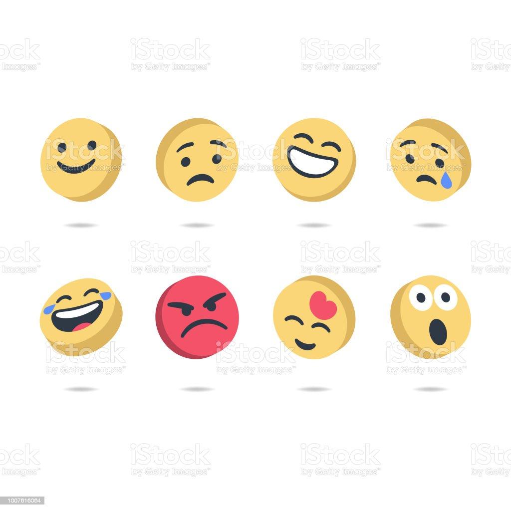 Three dimensional emoticons vector art illustration
