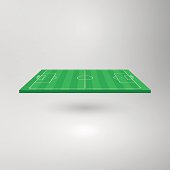 A 3D vector illustration of a football pitch tilted at an angle. All elements are drawn to scale. The illustration includes white pitch markings, goals and flags in the corners. This is a unique design element, easy to customise and ideal for your sporting design project. The eps file is fully scalable without any loss of quality.