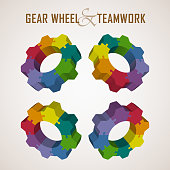Multicolored 3D gear wheel infographic in different perspectives.