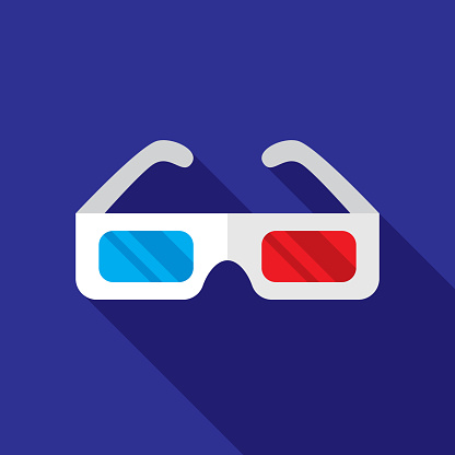 Three Dimensional Glasses Icon Flat