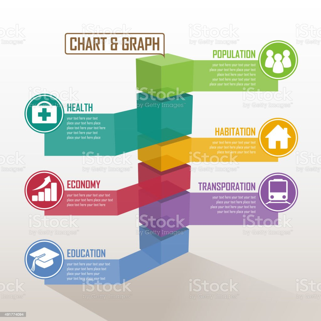 Three dimensional graph vector art illustration