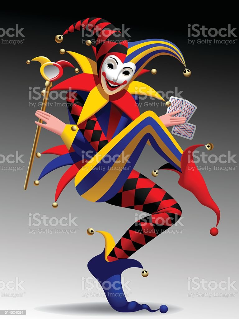 three dimensional grimacing and smiling joker with playing cards