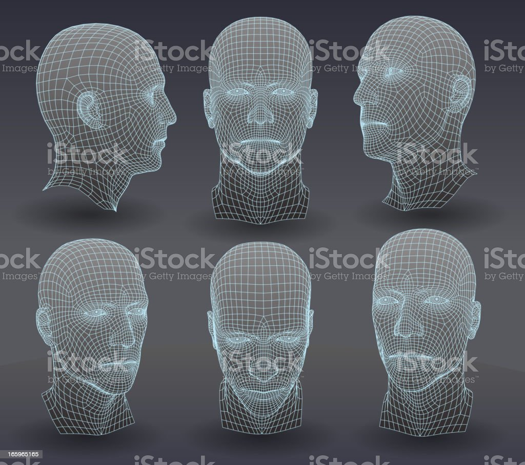 Three dimensional heads vector art illustration