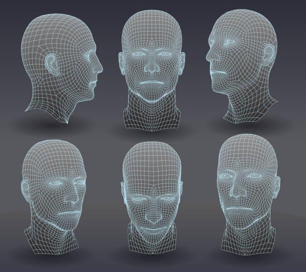 drei dimensionale heads - menschlicher kopf stock-grafiken, -clipart, -cartoons und -symbole