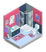 A very detailed scalable vector drawing of a modern bathroom, presented in three dimensional isometric view.