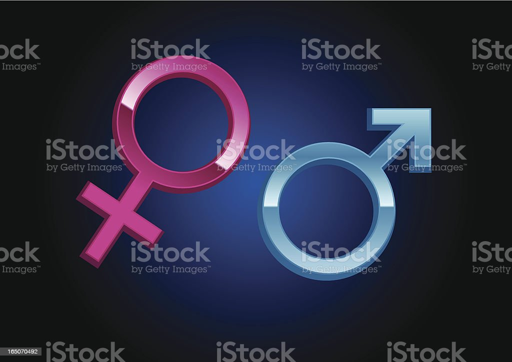 Three dimensional male and female gender symbols vector art illustration