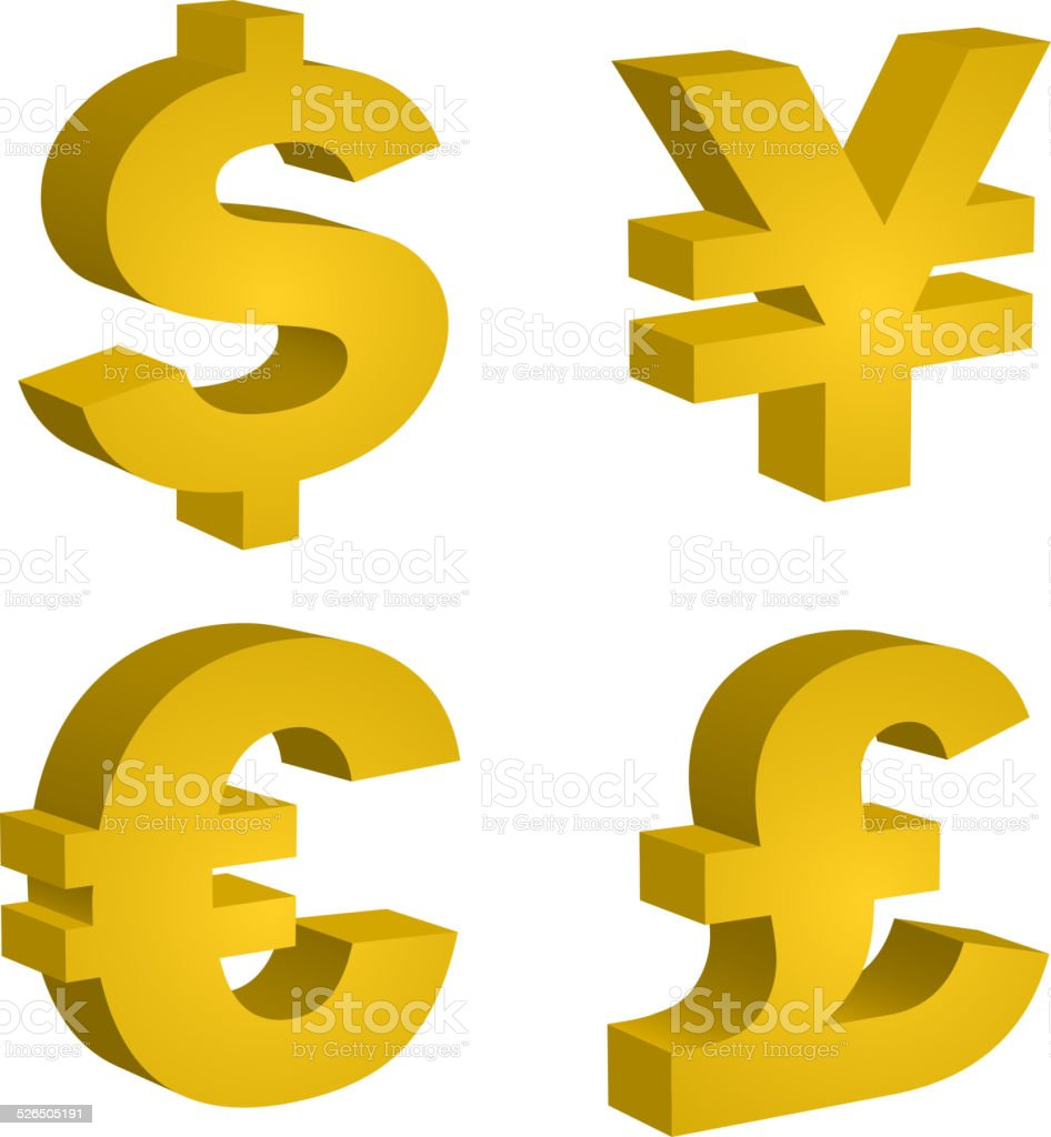 Three Dimensional Multicurrency Symbol Stock Vector Art More