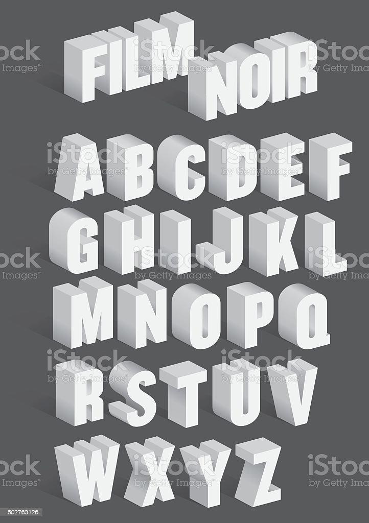 Three Dimensional Retro Vector Alphabet