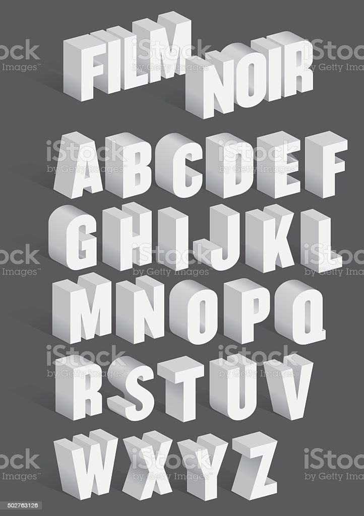 Tridimensional retrô Vector alfabeto - ilustração de arte em vetor