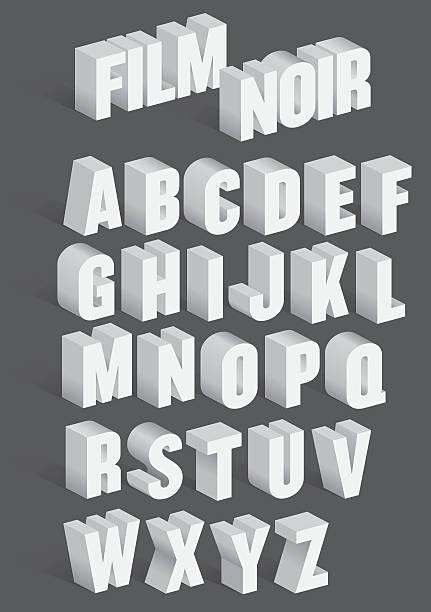Three Dimensional Retro Vector Alphabet vektör sanat illüstrasyonu