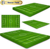 A set of isometric grass football field design elements.