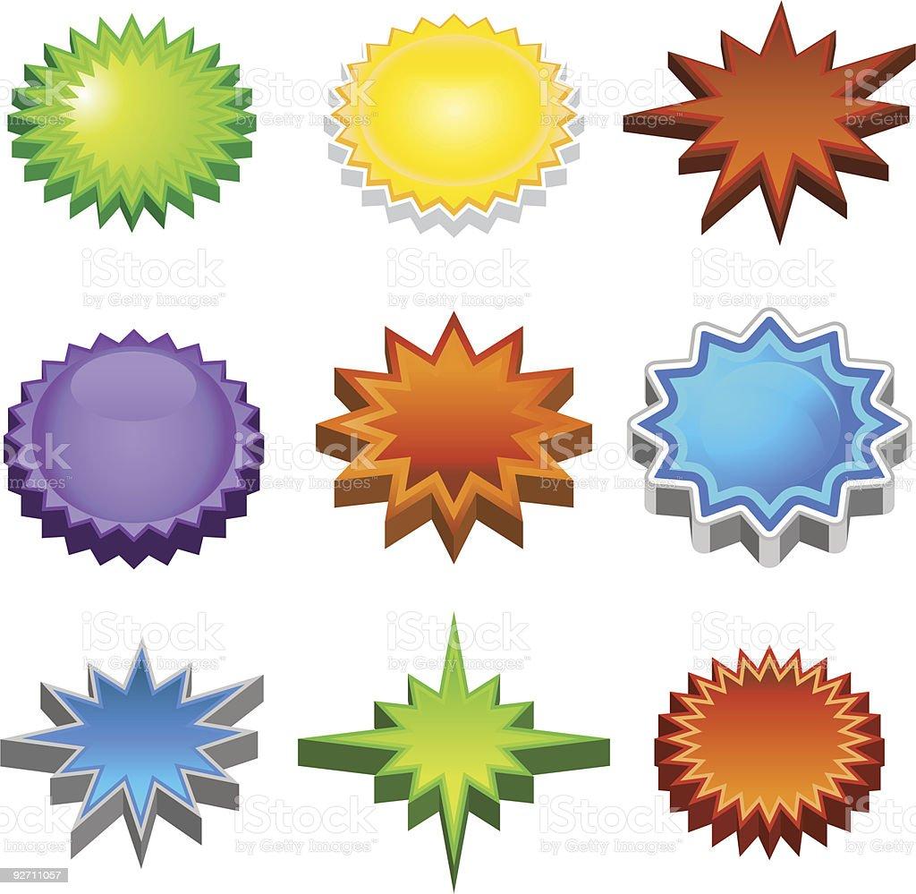 Three Dimensional Starburst Stickers royalty-free stock vector art