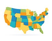 Three dimensional United States state abstract map.