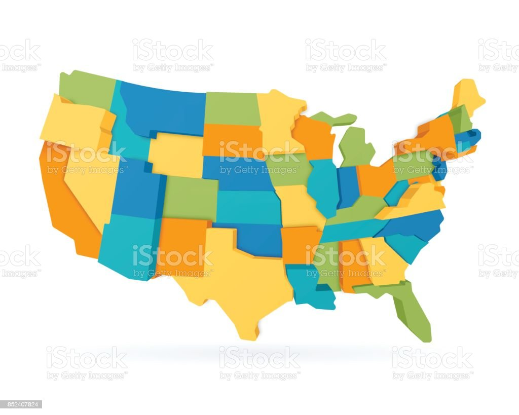 Three Dimensional United States Map vector art illustration