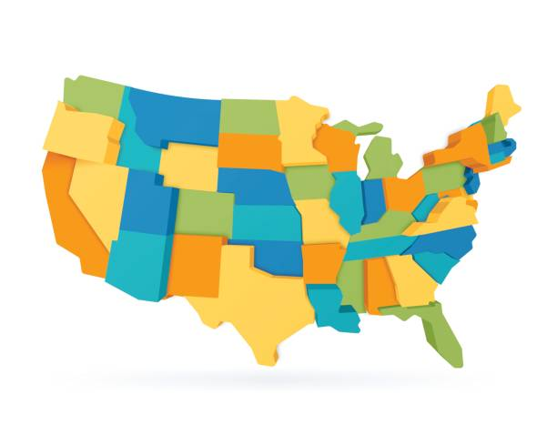three dimensional united states map - united states map vector stock illustrations, clip art, cartoons, & icons