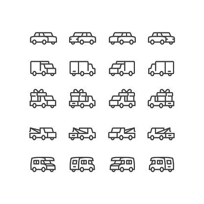 Three Dimensional Vehicle Line Icons