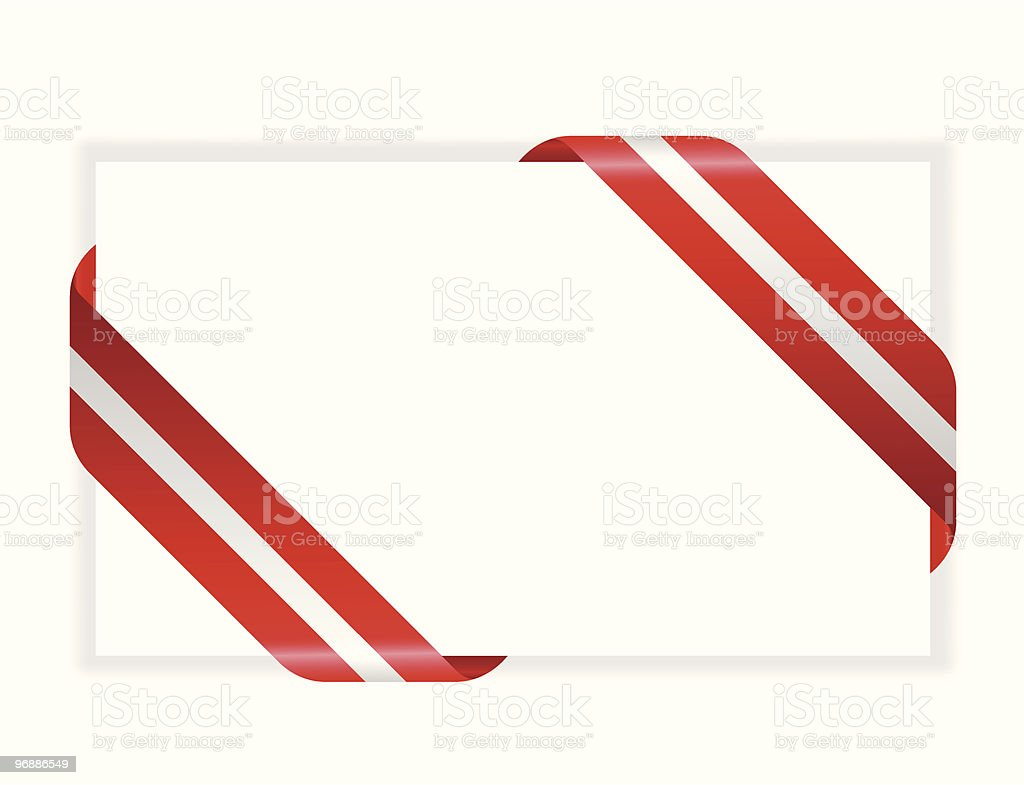 Three dimensional white card wrapped with striped red ribbon royalty-free stock vector art