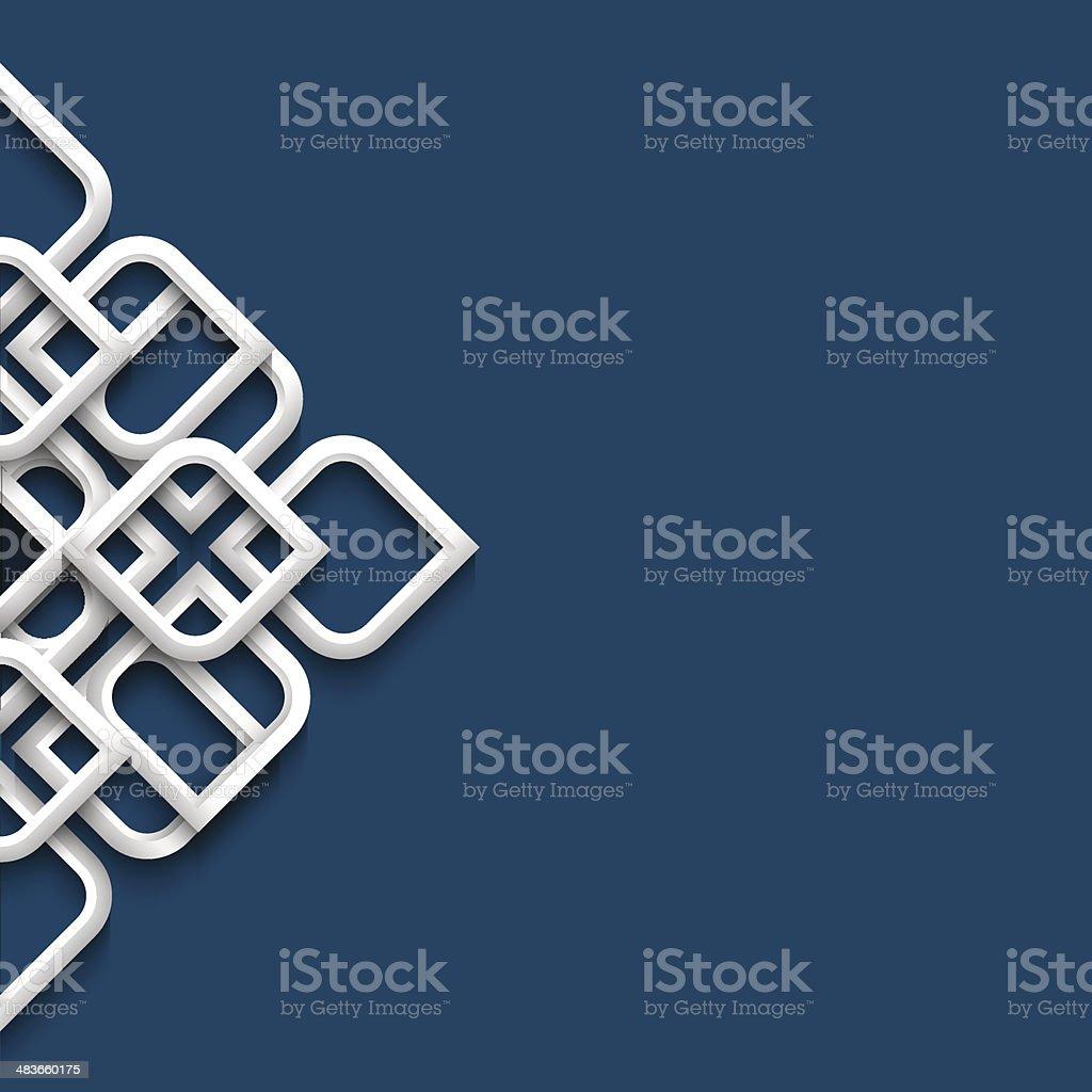 Three dimensional white ornament in arabic style vector art illustration