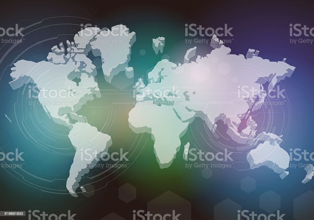 three dimensional world map, abstract image vector art illustration
