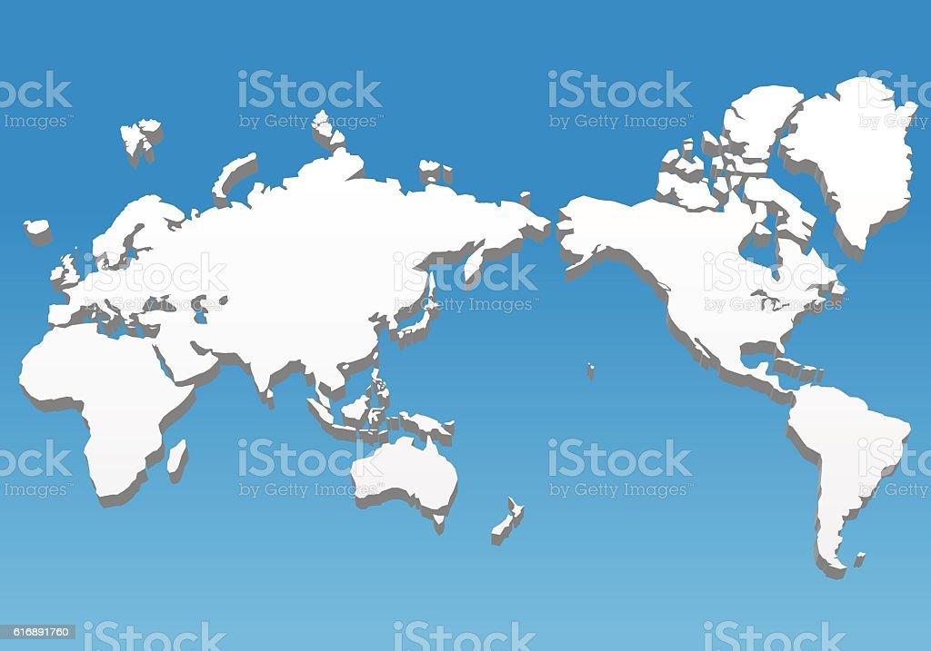 three dimensional world map, vector illustration vector art illustration