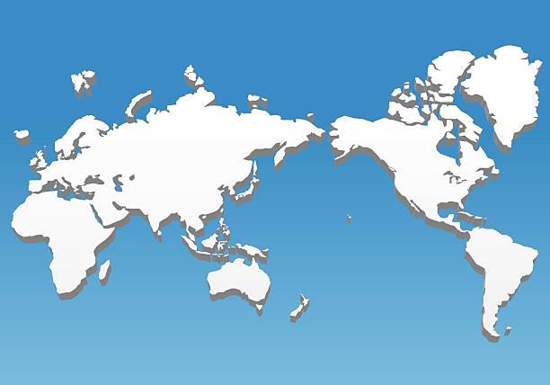 three dimensional world map, vector illustration - mittel stock-grafiken, -clipart, -cartoons und -symbole