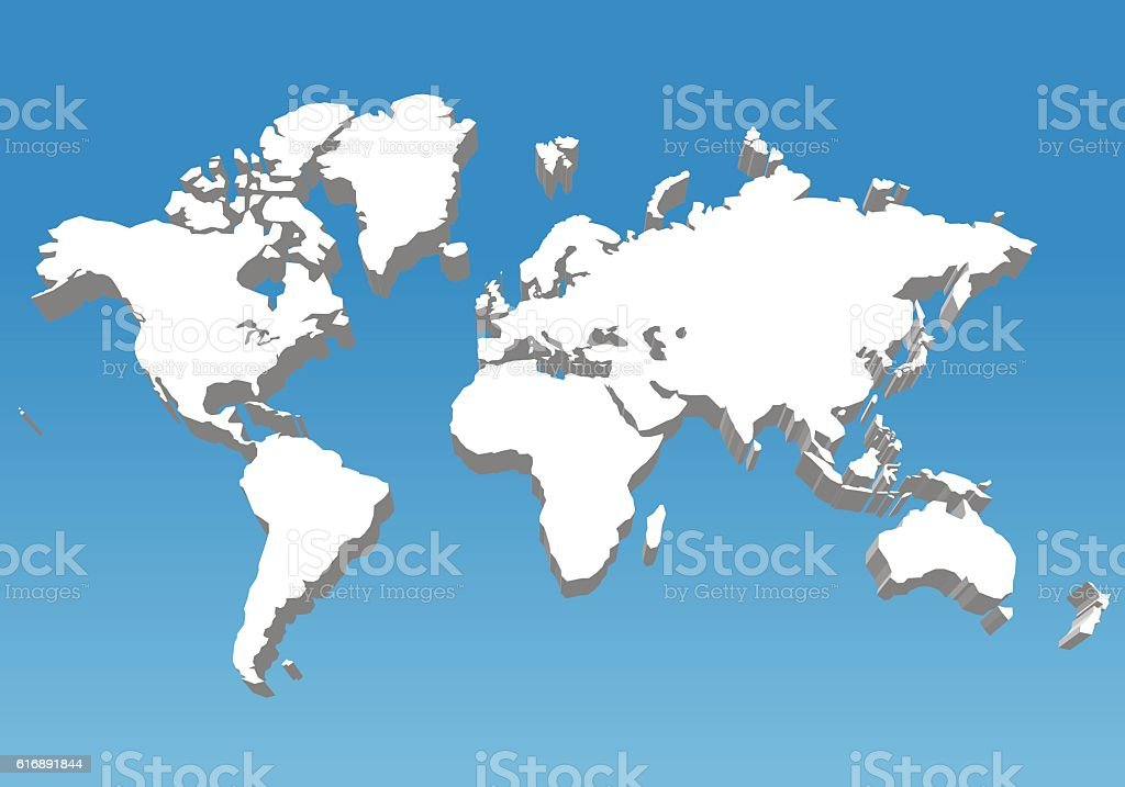 three dimensional world map, vector illustration vector art illustration