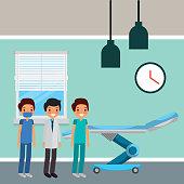 three doctors male in hospital room wheel bed vector illustration